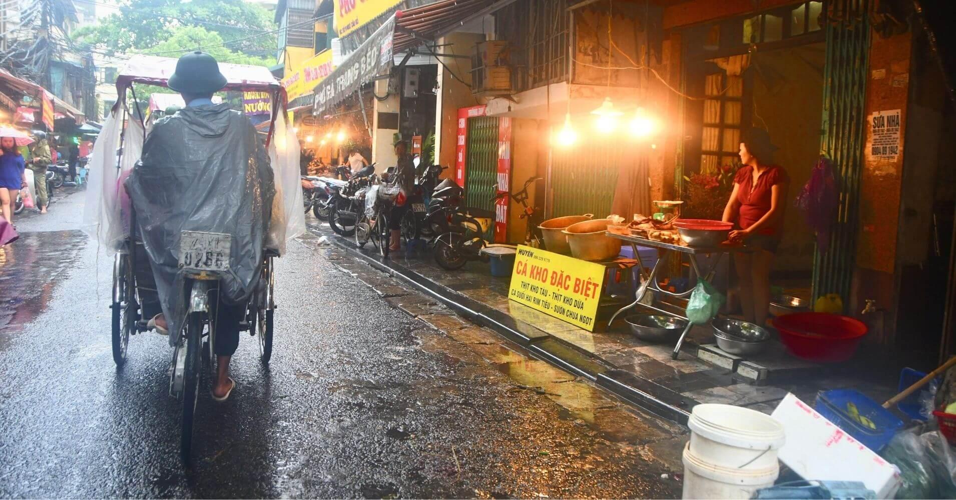 Old Quarter, Zona Antigua de Hanoi. Las 36 calles en Rickshaw, Cyclo Taxi.