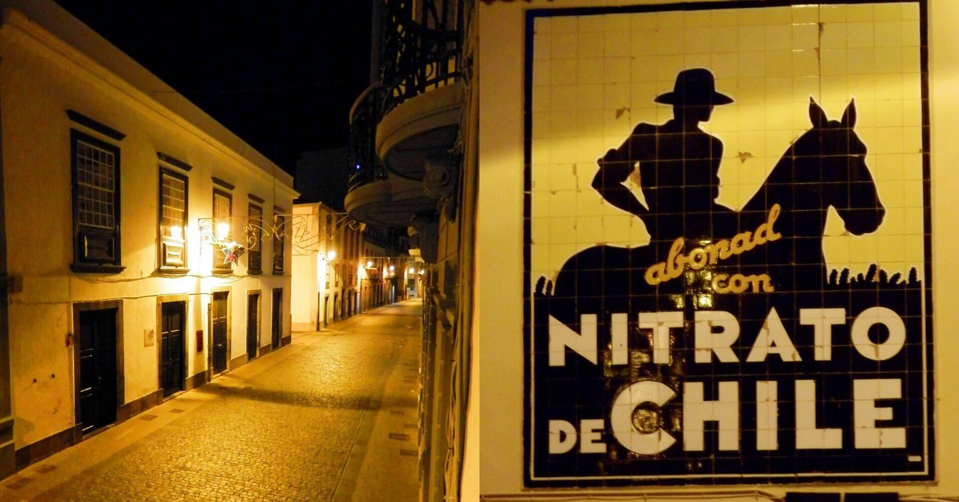 Calle O' Daly y Cartel de Nitrato de Chile. La Palma a ritmo lento. Santa Cruz de La Palma. Islas Canarias.