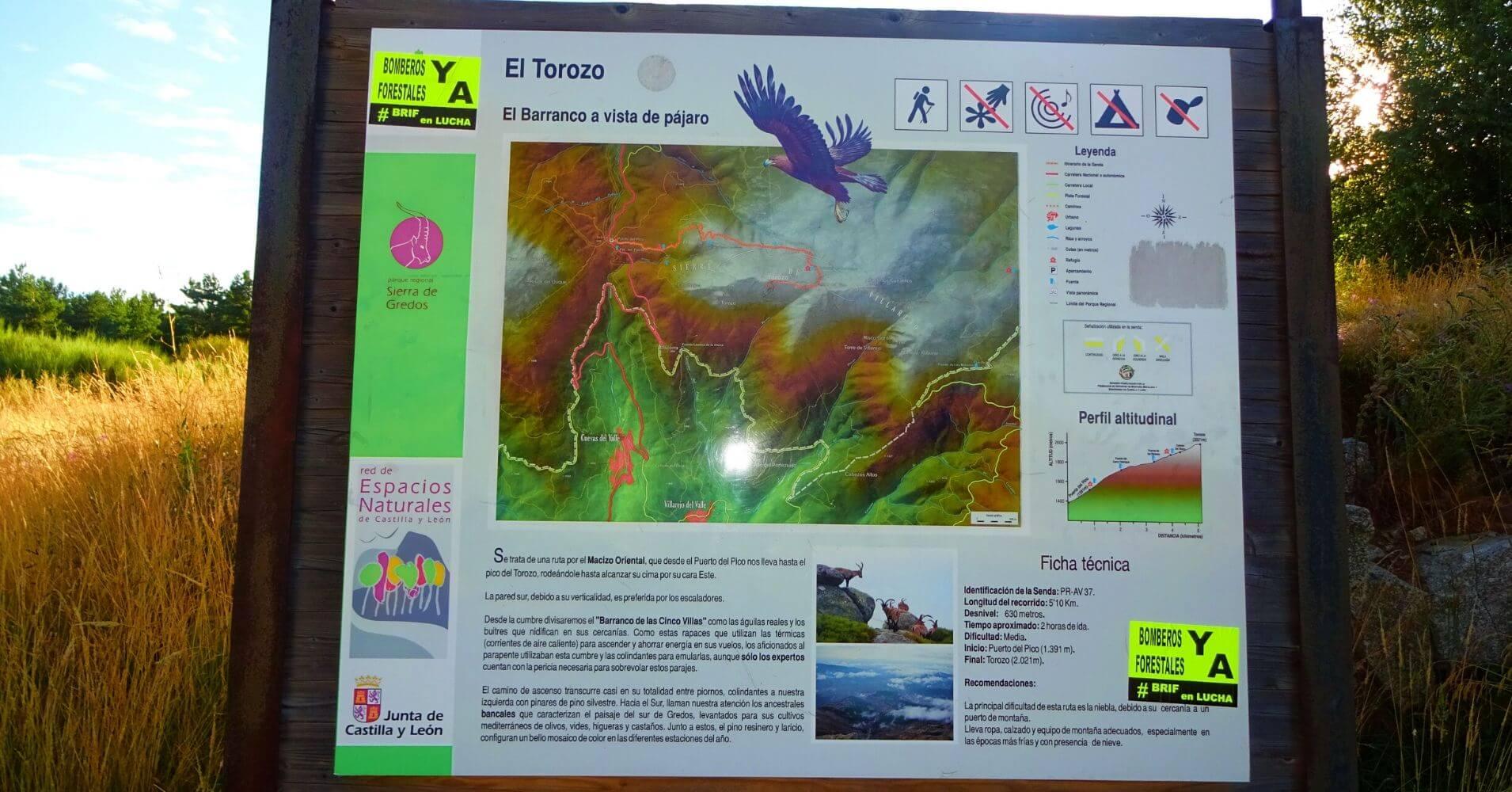 Cartel PR AV 37 Pico El Torozo, Sierra de Gredos, Ávila. Castilla y León.