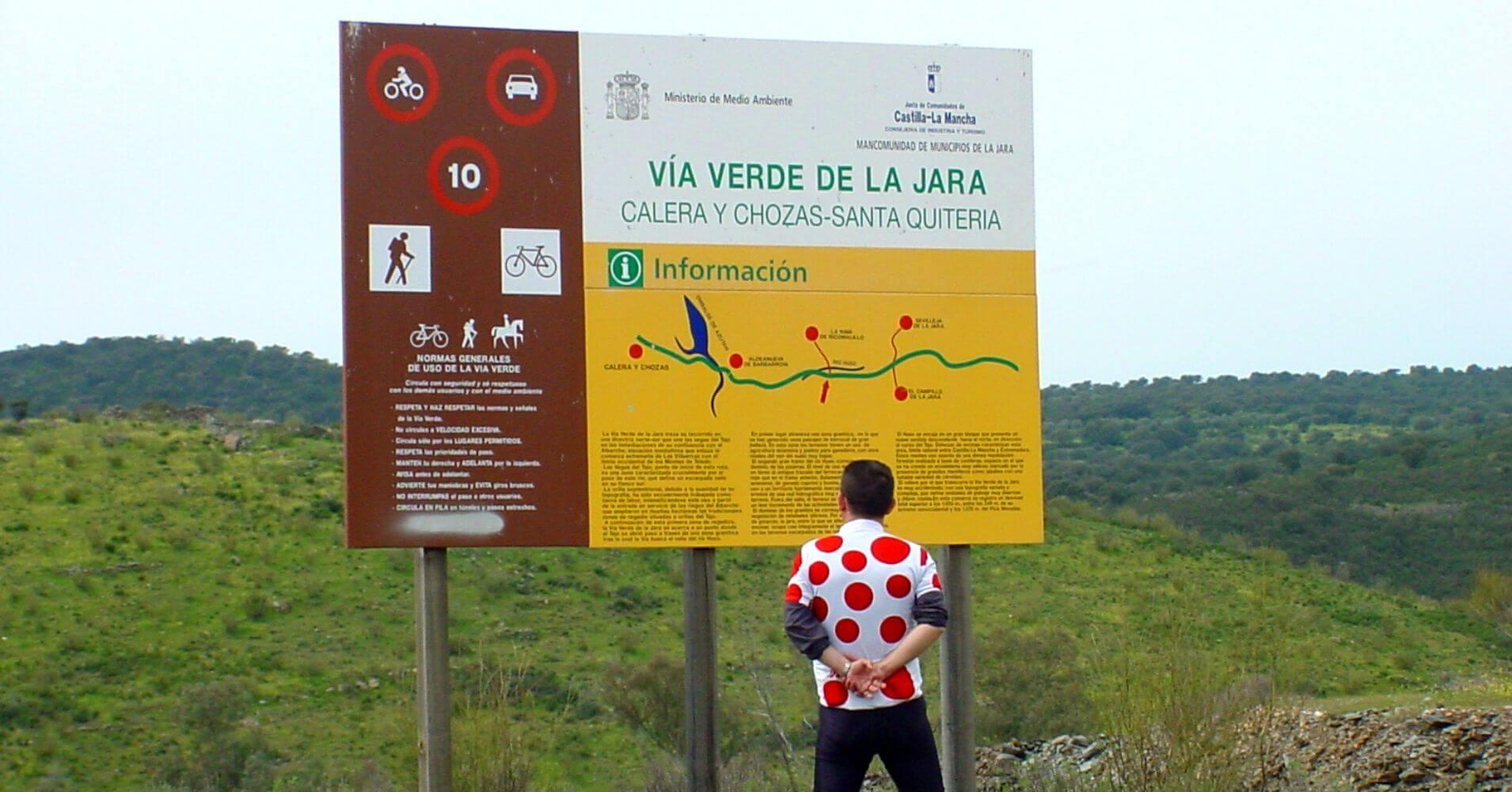 Cartel de la Vía Verde de La Jara. Calera y Chozas, Toledo, Castilla la Mancha.