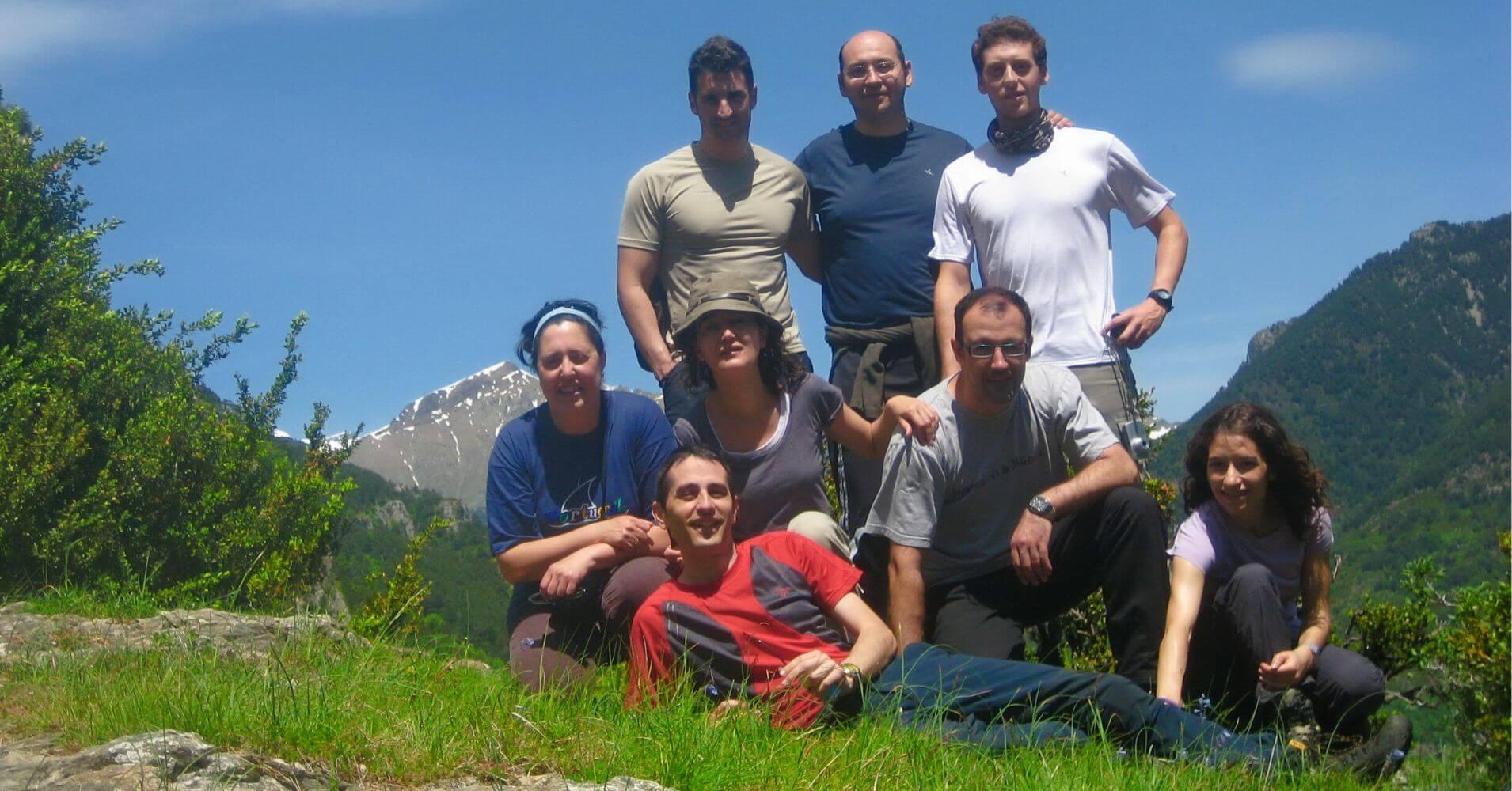 Componentes del Grupo de la Ruta PR HU 137 de Bielsa a Tella. Huesca, Aragón.