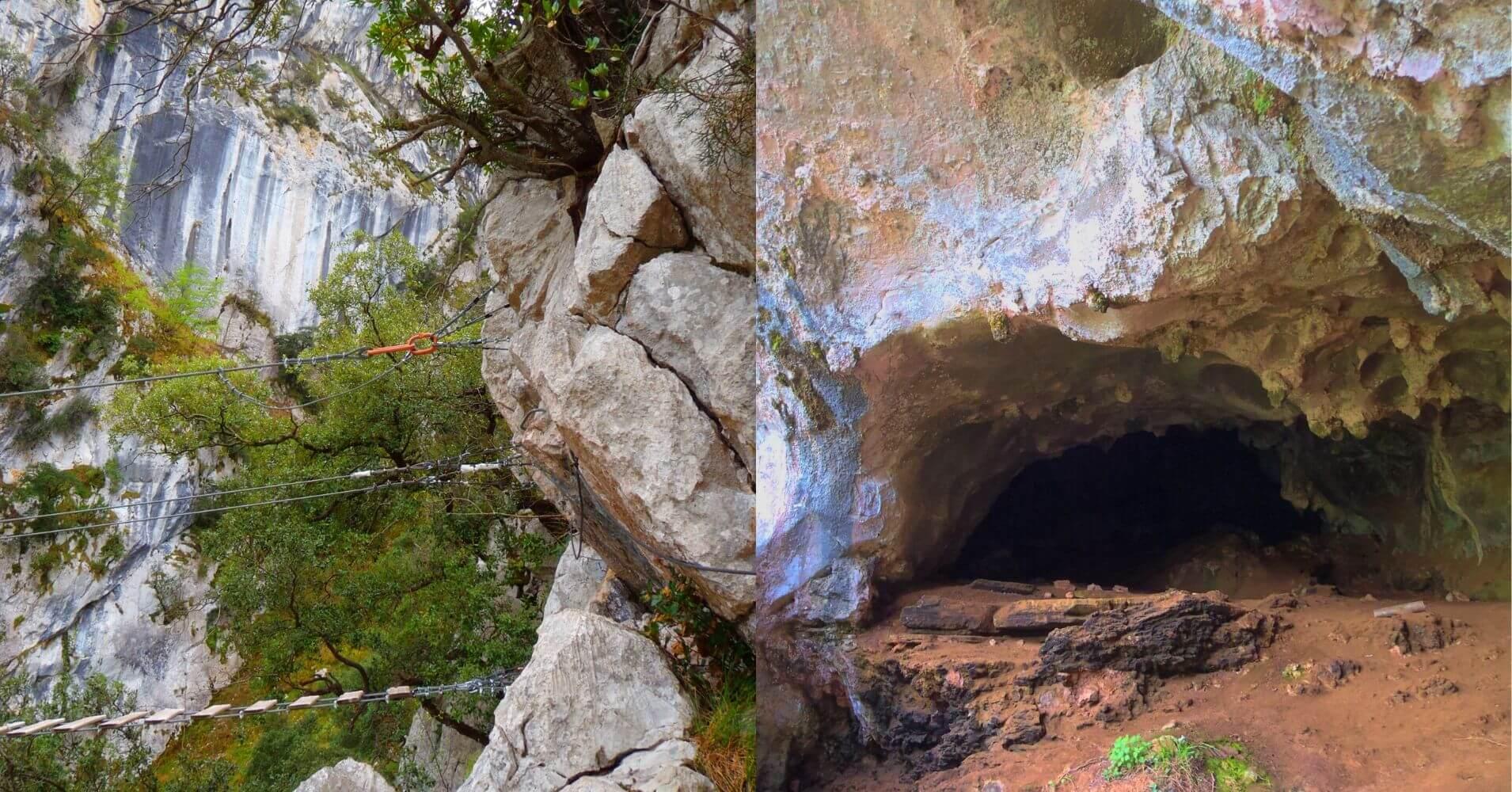 Cueva en la Vía Ferrata de la Hemida. Picos de Europa, Cantabria.