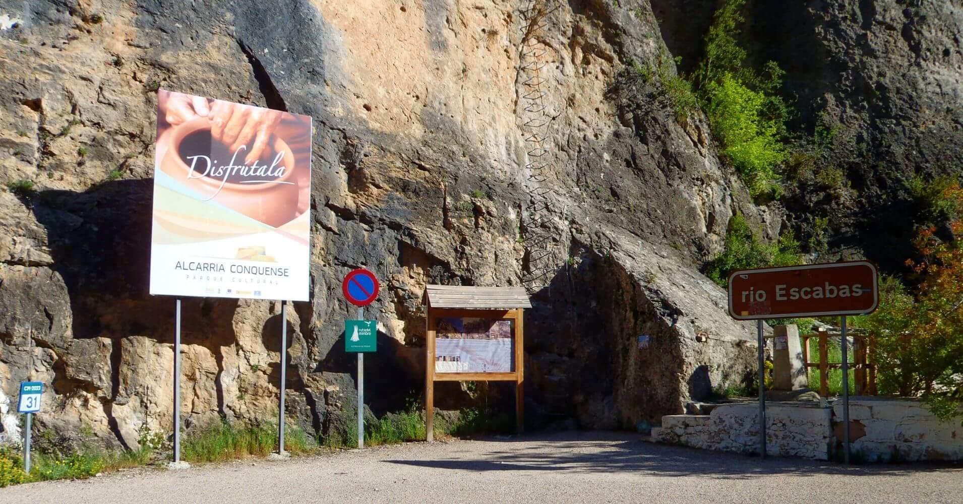 Inicio del Camino Equipado de la Pasarela del Río Escabas. Priego, Cuenca. Castilla la Mancha.