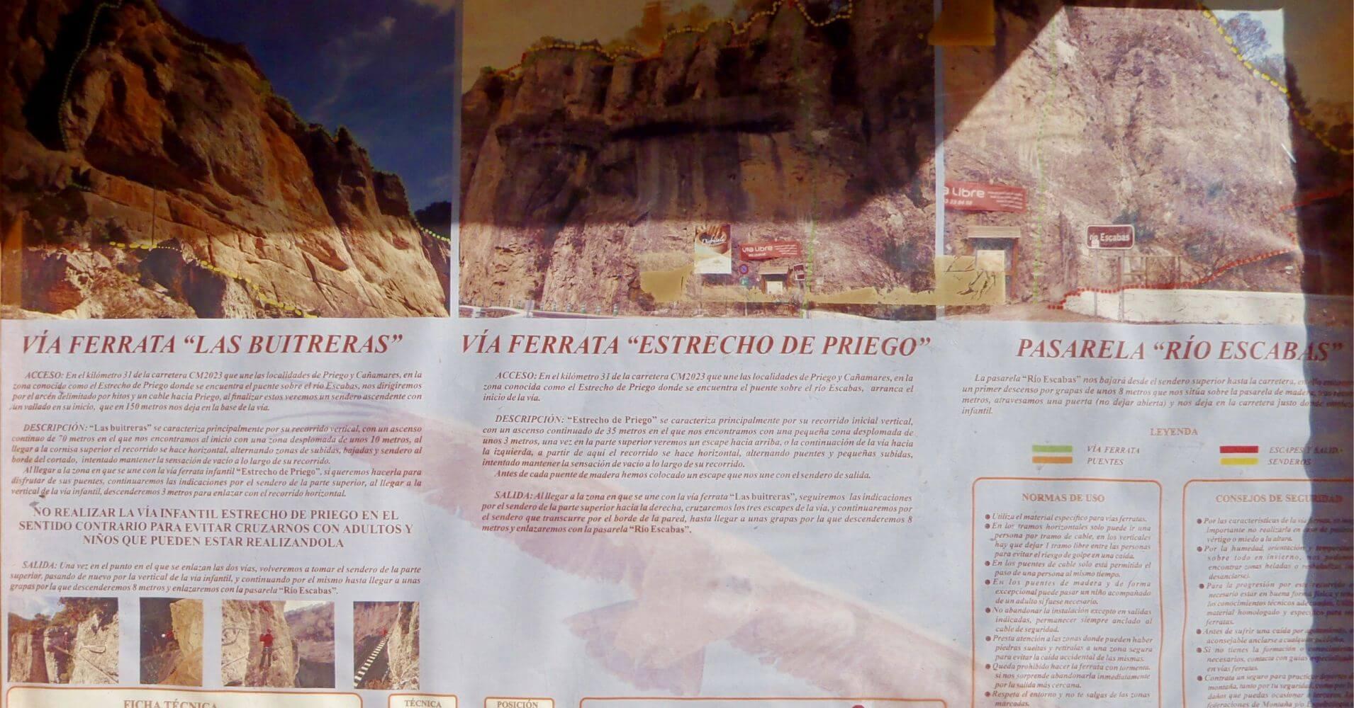 Panel de Información de las Ferratas del Estrecho de Priego. Cuenca, Castilla la Mancha.
