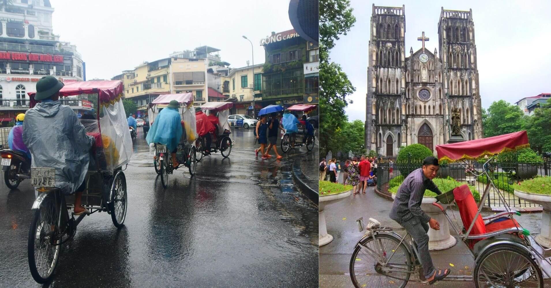 Paseo en Rickshaw. Catedral de San José, Hanói.